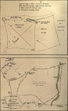 Two hand-drawn diagrams of the scene and environs
