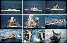 A series of ten photographs, arranged in a three-three-four pattern. The first photograph shows a stationary warship. The next five images show an explosion underneath the ship, which breaks the vessel in two and generates an increasingly large debris cloud. The sixth and seventh photos show the broken ship as the back half drifts away and begins to sink, while the eighth and ninth are close-ups of the back as it submerges. The tenth photograph shows the front half of the ship from behind.