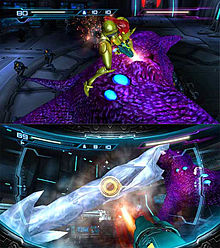 A person in a powered armor prepares to attack a vaguely humanoid monster, surrounding with armoured soldiers in the background of the above picture. On the below image, her weapon, a large cannon visible in the corner of the screen, fires a missile at a frozen tentacle. Atop both screens are 2D icons which indicates the health and ammo of the player.