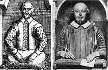 Effigy of Shakespeare with right hand holding a quill pen and left hand resting on paper on a tasseled cushion, compared with a drawing of the effigy which shows both hands empty and resting on a stuffed sack or pillow.