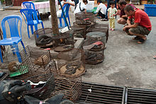 On a street, Western tourists examine several small wire cages containing snakes, lizards, slow lorises, and other exotic animals.