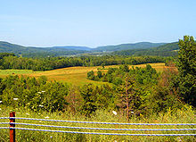 In the foreground is a small cluster of trees that has built up alongside NY 22. Beyond those is a large cultivated field; even farther out is a dense forest. In the distance is an area of lowlands surrounded by forests and bisected by a narrow, winding waterway. Two large mountain ranges are barely visible in the far-off distance.