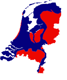 Map of the Netherlands, about two thirds is coloured blue