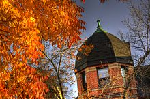 The top dome of O'Keefe House in the fall.