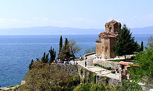 Church of St John at Kaneo on hill with Lake Ohrid beneath it
