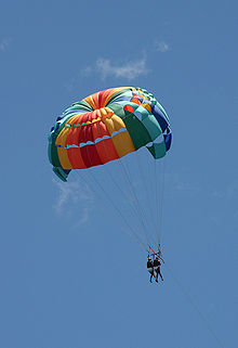 Multicolored parachute against blue sky