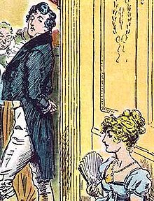 Illustration of Mr. Darcy and Elizabeth Bennet from Pride and Prejudice, by C. E. Brock (1895)