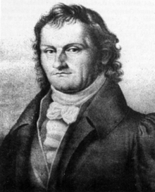 a line drawing of Schneider's portrait at a 3/4 angle. he looks resolute and has long hair.