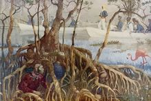 A black and white drawing of Seminoles crouched behind the massive roots of a mangrove tree while U.S. Marines in three canoes are shown in the background