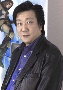 A Japanese man with left-parted hair, a brown leather jacket, and a blue shirt