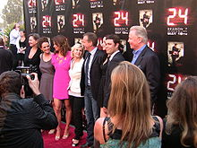 The cast of 24 is shown in this picture. Cast members include Kiefer Sutherland, Cherry Jones, Mary Lynn Rasjkub, Annie Wersching, and Carlos Bernard