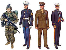 color drawings of four Marines wearing various uniforms
