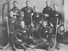 Eight young men pose wearing identical sweaters with a buffalo logo on their right breast. They are all in hockey skates and holding sticks