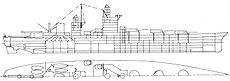 A line drawing of a ship with three gun turrets on the centerline forward, a tall superstructure, and a large funnel at the rear.