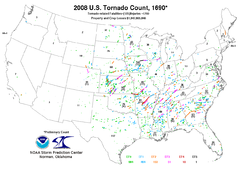Tracks of all United States tornadoes during 2008