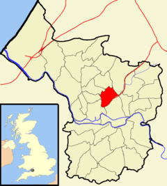 Map of Bristol showing Ashley ward to the north of the centre of the city