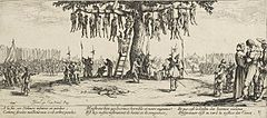 The bodies of captive men hang from trees while soldiers and civilians look on. A man to the right comforts a woman.