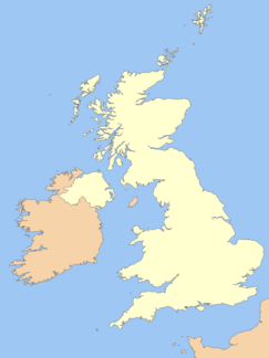 Map of England and Wales with a red dot representing the location of the Mendip Hills on the northern coast of the south-west peninsula