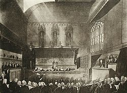 Drawing of a large, crowded courtroom