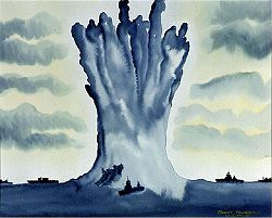 Watercolor of geyser lifting one end of a ship.