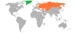 Map indicating locations of Denmark and Soviet Union