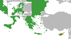 Map indicating locations of the EU and TRNC