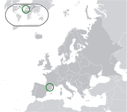 Location of  Andorra  (green)in Europe  (dark grey)  —  [Legend]