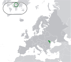 Location of Moldova (green) – Transnistria (light green) on the European continent (green + dark grey)
