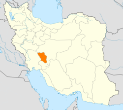 Map of Iran with Chahar Mahaal and Bakhtiari highlighted