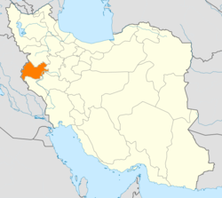 Map of Iran with Kermanshah highlighted