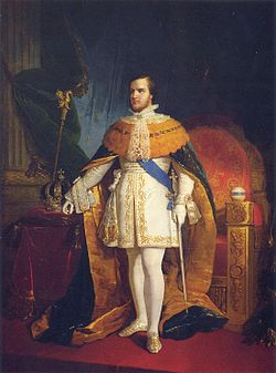 A painted, full-length portrait of a young man standing before a throne and wearing robes of state while on a table at his right hand rest an arched crown and scepter