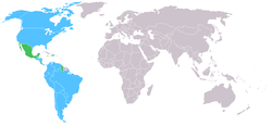 Map of SICOFAA countries, with light blue being member countries and green being observers.
