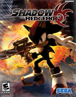 "An anthropomorphic black hedgehog with spiky hair holds a handgun, striking an attacking pose with an unhappy expression on his face. A stylized explosion is visible in the background. The words ""Shadow the Hedgehog"" adorn the top of the screen, as does a red logo that resembles the hedgehog's head."