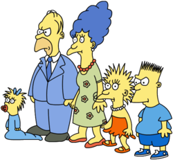 A cartoon drawing of a family, with a baby, two children, and two parents. They are dressed in casual and formal clothing, and have yellow skin.