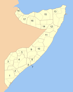 A clickable map of Somalia exhibiting its eighteen administrative regions.
