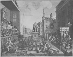 A monochrome illustration of an outdoor scene.  In the background, a building is under construction.  A tall church, and other ornate structures, are also visible.  To the left, a judge, seated high above everybody else, watches over the scene before him.  Below him, riflemen shoot at a dove of peace flying through the air.  In the middle of the image, two gardeners tend to a display of shrubbery.  One pumps water from a large ornate fountain, the other struggles with a wheelbarrow.  To the right, two figures, a man and a ghost, are stood in a pillory.  Behind them, in the shade, a wigged man tends to his followers.
