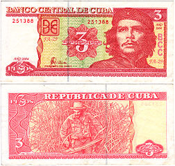 A 3 peso banknote depicting Che Guevara