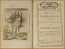"Frontispiece—an engraving of a donkey burdened by a pile of books—and title page of a book, incribed ""DUNCIAD // With NOTES // VARIORUM, // AND THE PROLEGOMENA OF SCRIBLERIUS."""