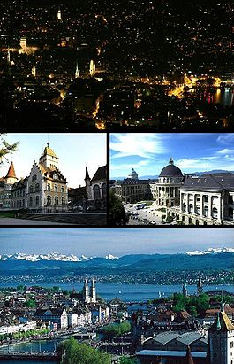 Zurich - Top: Night view of Zurich from Üetliberg, Middle left: National Museum, Middle right: Swiss Federal Institute of Technology, Bottom: View over Zurich and the lake.