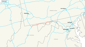 Map of a road that stretches across northern West Virginia and northwestern Maryland.