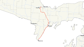 M-35 runs in the central Upper Peninsula of Michigan between Menominee, Escanaba and Negaunee