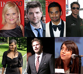A photo collage featuring pictures of seven different people, with four photos on the top row and three on the bottom row. The top row, from left to right, features a smiling blond woman wearing a black dress, a smiling brown-haired man wearing a tie and jacket, a smiling black-haired man wearing a white tuxedo and black tie, and a frowning brown-haired man wearing sunglasses and a black coat. The bottom row, from left to right, features a smiling brown-haired woman wearing a black dress, a man with brown hair and a beard wearing a suit jacket and tie, and a brown-haired woman speaking into a microphone.