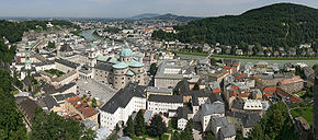 The old town seen over the River Salzach, viewed from the Hohensalzburg fortress.