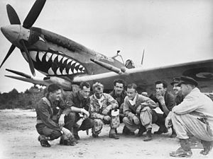 Eight men wearing military uniform crouching in a semi-circle in front of a single propeller monoplane. The aircraft has been painted with a shark's mouth behind the propeller on its nose.