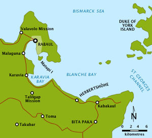 Map showing the vicinity of Rabaul, Blanche Bay and Bita Paka on the Gazelle Peninsula, New Britain