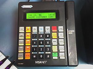 A typical credit card terminal that is still popular today.