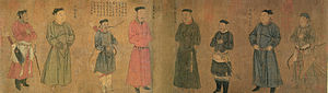 A long, landscape oriented painting of eight figures. From left to right, the first, third, fifth, sixth, and eighth people are armed, with the first and last men most heavily armed, carrying both a bow and a sword, with the other three carrying either a bow or a sword but not both. Each of the men wears a thin, flat, black cap. The thrid and sixth figure are also a head shorter than the rest of the figures.