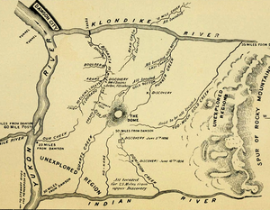 Klondike River and gold bearing creeks, map from a 1897 guidebook. Claimed and unexplored regions are marked