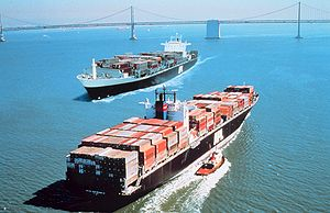 Two container ships pass in San Francisco Bay