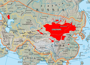 This map shows the boundary of 13th century mongol empire compared to